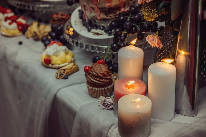 Lit candles from a Boho Picnic Birthday Party on Kara's Party Ideas | KarasPartyIdeas.com (28)