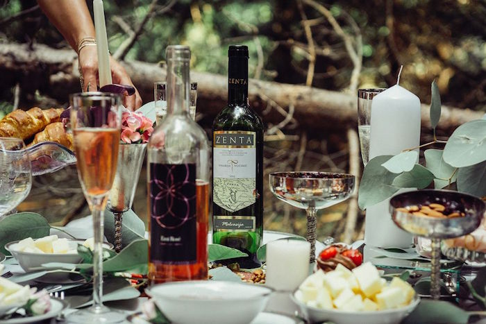 Wine bottles and glasses from a Boho Picnic Birthday Party on Kara's Party Ideas | KarasPartyIdeas.com (27)