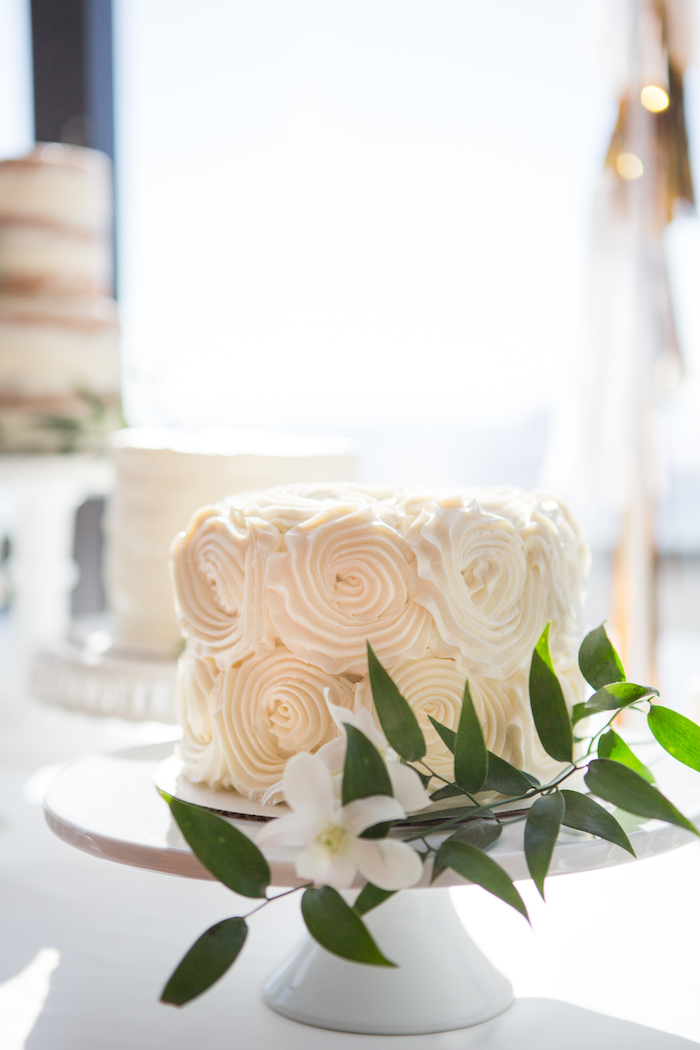 White rosette cake from a Chic & Shimmery Baby Shower on Kara's Party Ideas | KarasPartyIdeas.com (17)