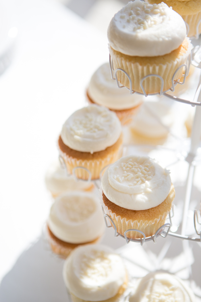 White-frosted cupcakes from a Chic & Shimmery Baby Shower on Kara's Party Ideas | KarasPartyIdeas.com (16)