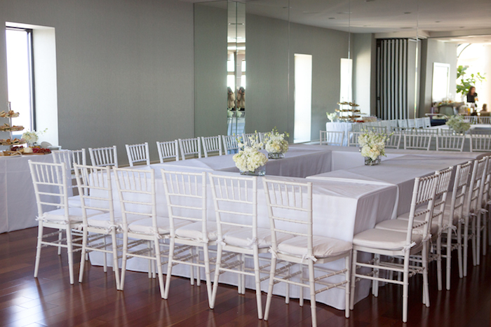 Guest tables from a Chic & Shimmery Baby Shower on Kara's Party Ideas | KarasPartyIdeas.com (11)
