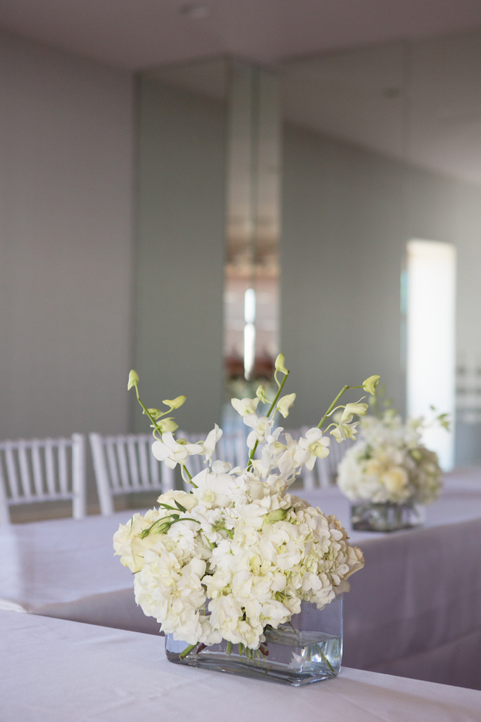 Hydrangea flower centerpiece from a Chic & Shimmery Baby Shower on Kara's Party Ideas | KarasPartyIdeas.com (10)