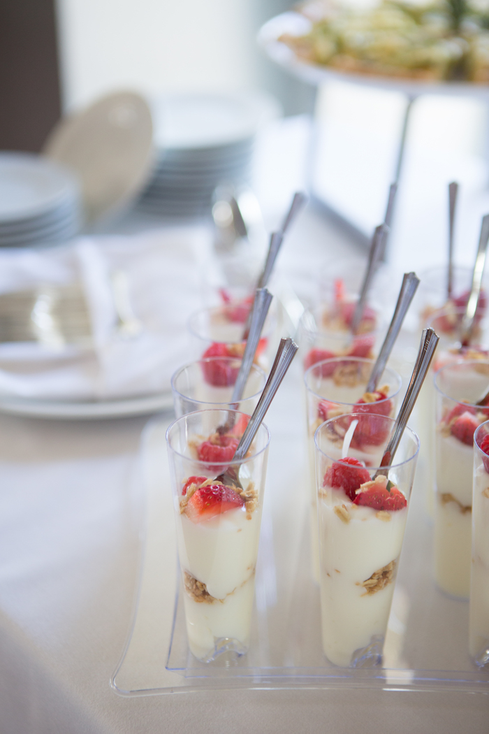 Dessert + yogurt shooters from a Chic & Shimmery Baby Shower on Kara's Party Ideas | KarasPartyIdeas.com (9)