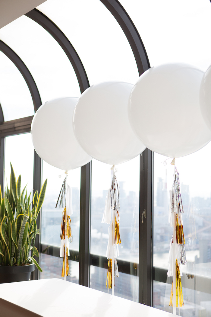 White jumbo balloons with glam tassel tails from a Chic & Shimmery Baby Shower on Kara's Party Ideas | KarasPartyIdeas.com (26)