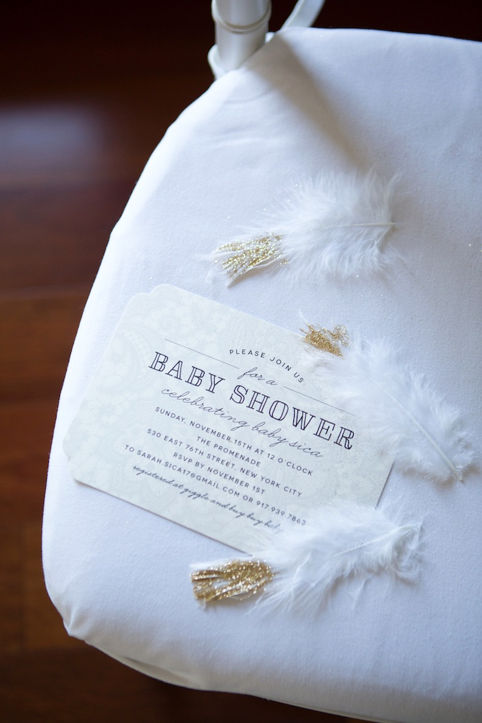 Gold & white invitation from a Chic & Shimmery Baby Shower on Kara's Party Ideas | KarasPartyIdeas.com (3)