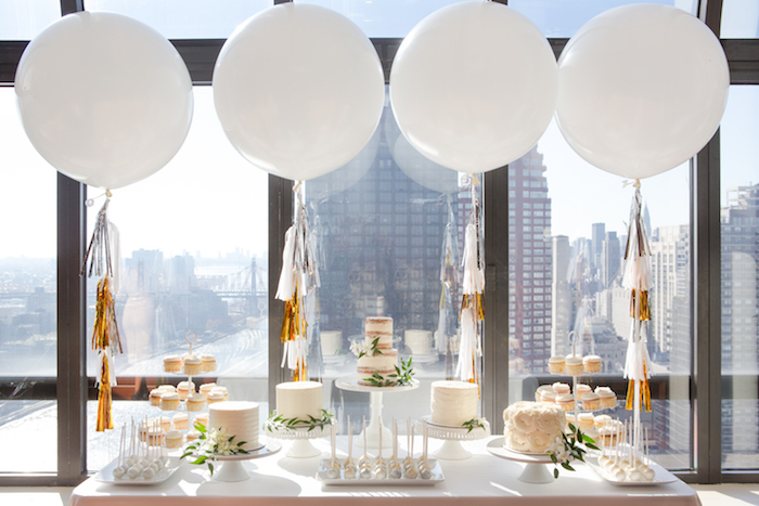Cake bar from a Chic & Shimmery Baby Shower on Kara's Party Ideas | KarasPartyIdeas.com (23)