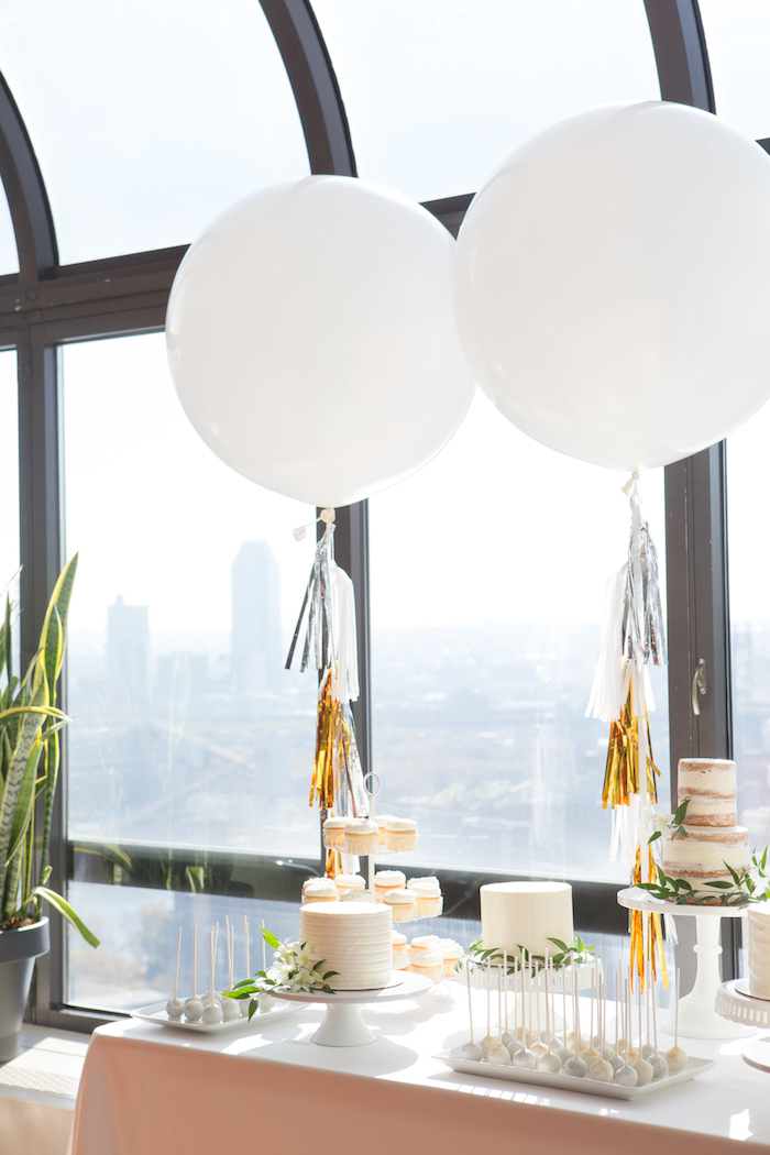 Cake bar from a Chic & Shimmery Baby Shower on Kara's Party Ideas | KarasPartyIdeas.com (21)