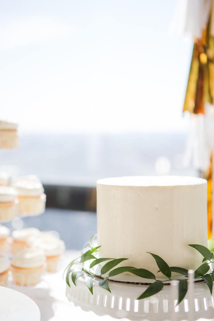 White cake from a Chic & Shimmery Baby Shower on Kara's Party Ideas | KarasPartyIdeas.com (19)