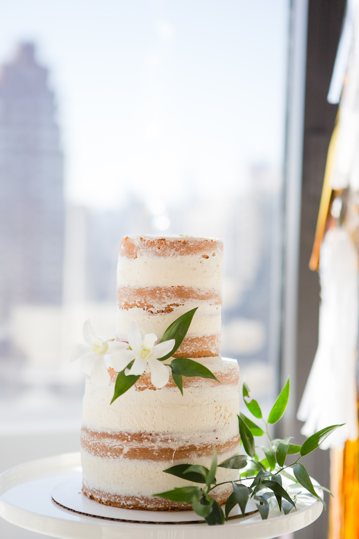 Naked cake from a Chic & Shimmery Baby Shower on Kara's Party Ideas | KarasPartyIdeas.com (18)