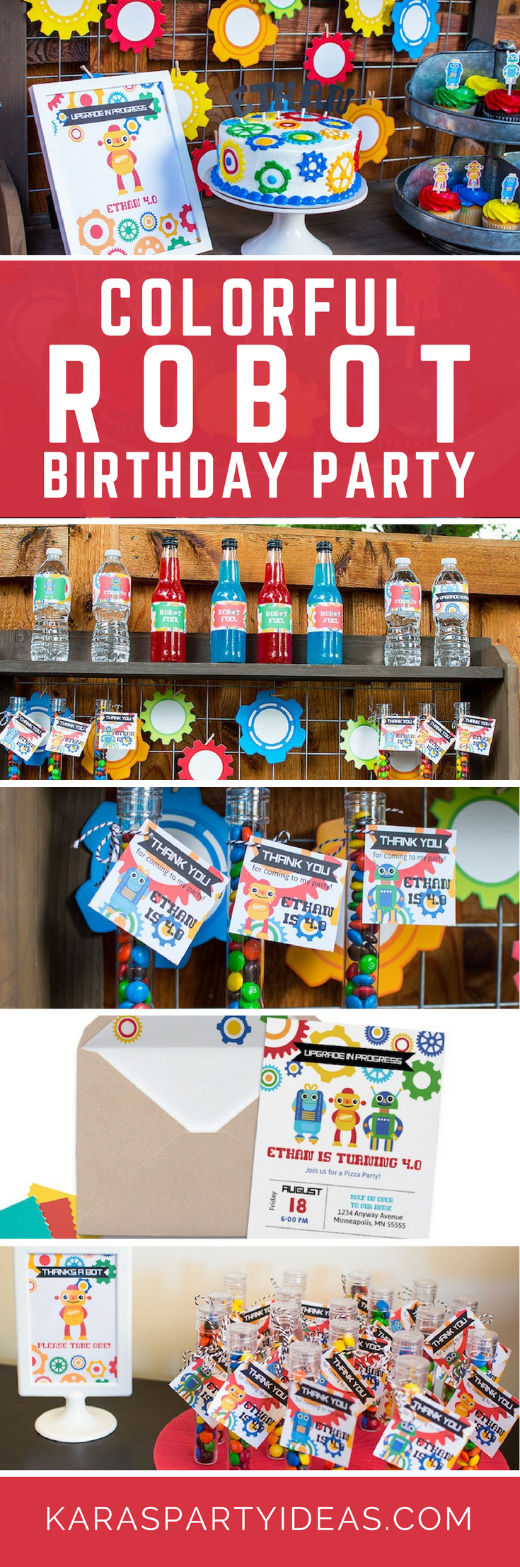 Colorful Robot Birthday Party via Kara's Party Ideas - KarasPartyIdeas.com