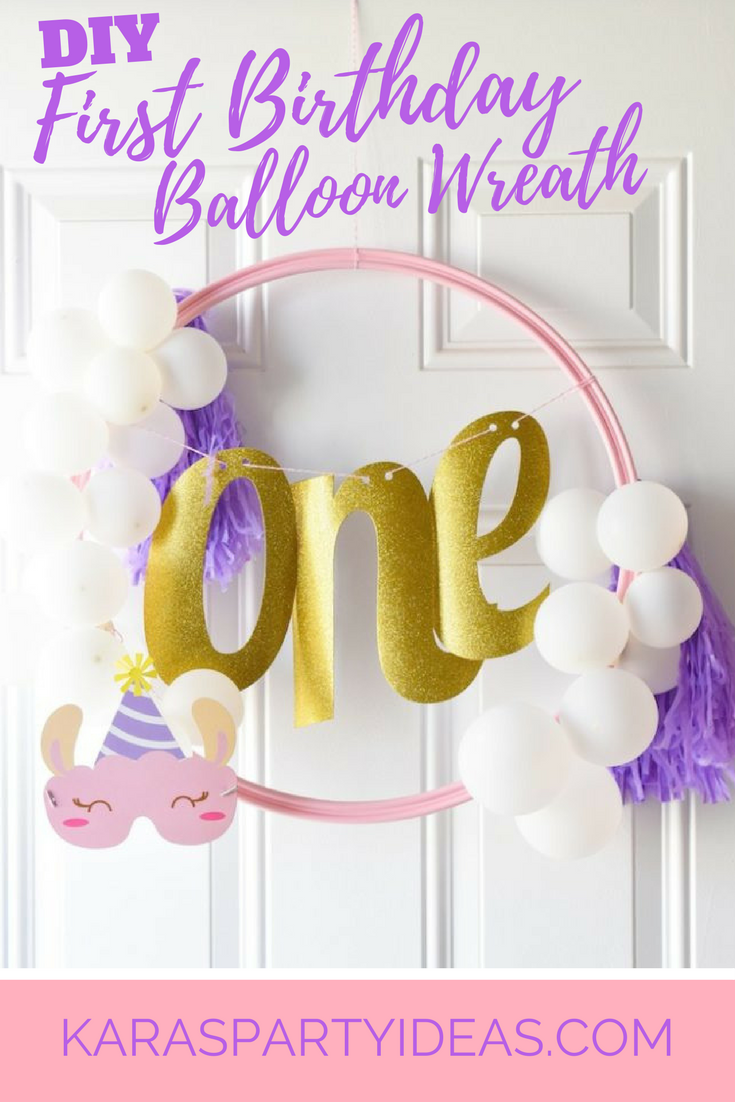 DIY First Birthday Balloon Wreath via Kara's Party Ideas - KarasPartyIdeas.com