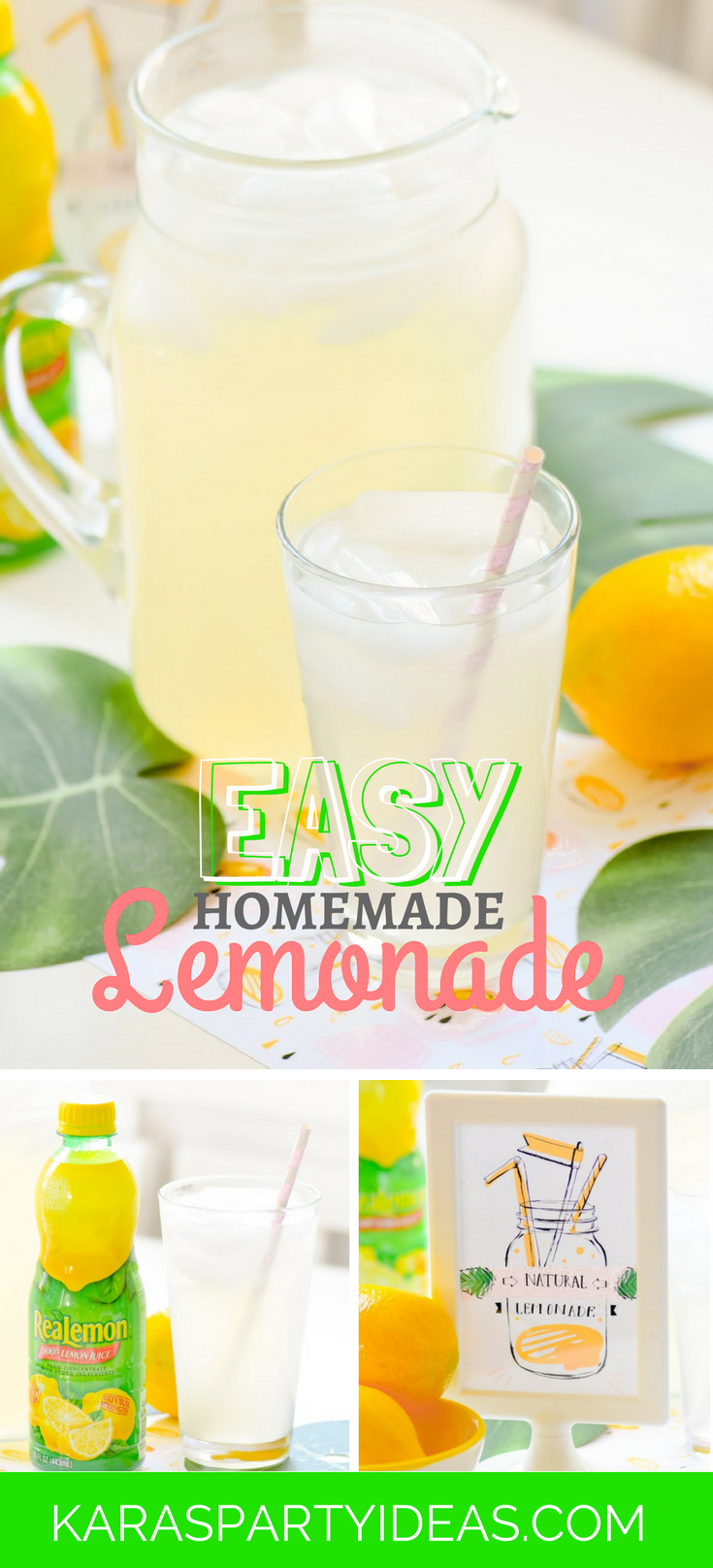 Easy Homemade Lemonade using RealLemon Lemon Juice by Kara's Party Ideas - KarasPartyIdeas.com
