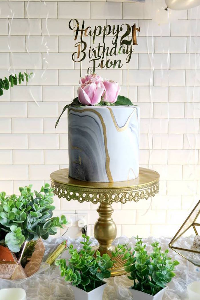 Kara S Party Ideas Elegant Marble Inspired 21st Birthday