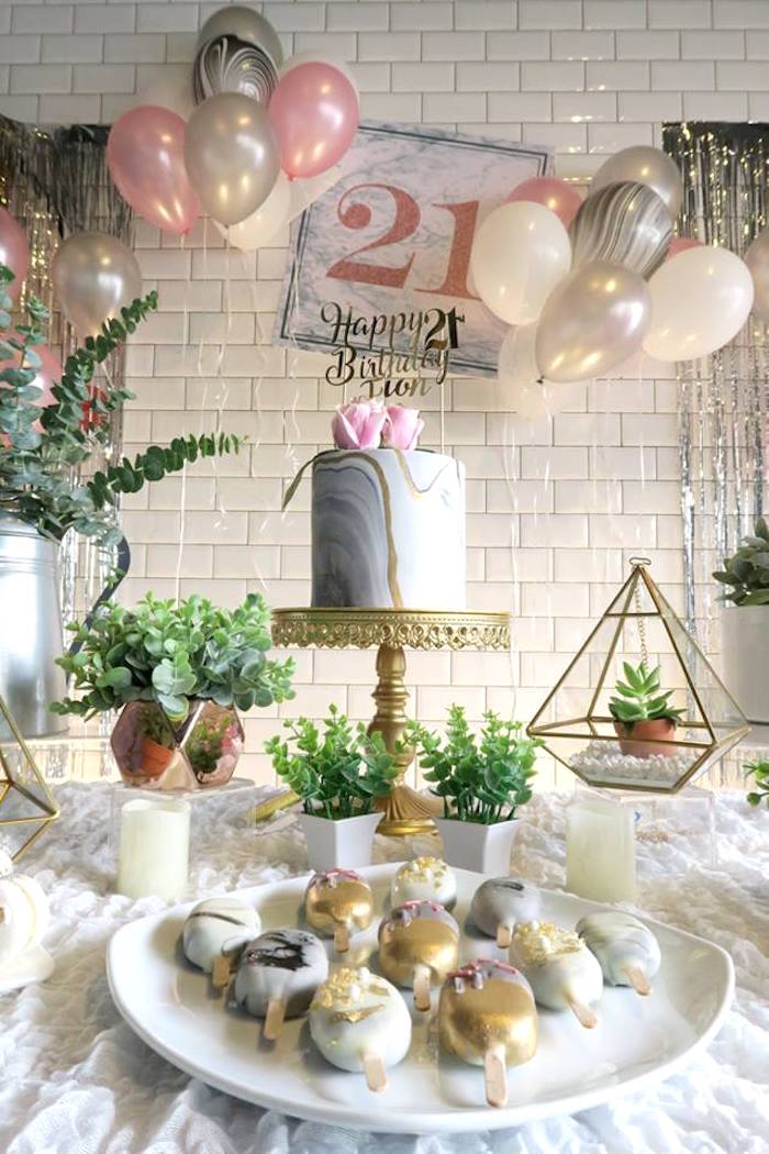 Karas Party Ideas Elegant Marble Inspired 21st Birthday Party