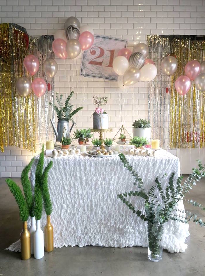 Elegant Marble Inspired 21st Birthday Party