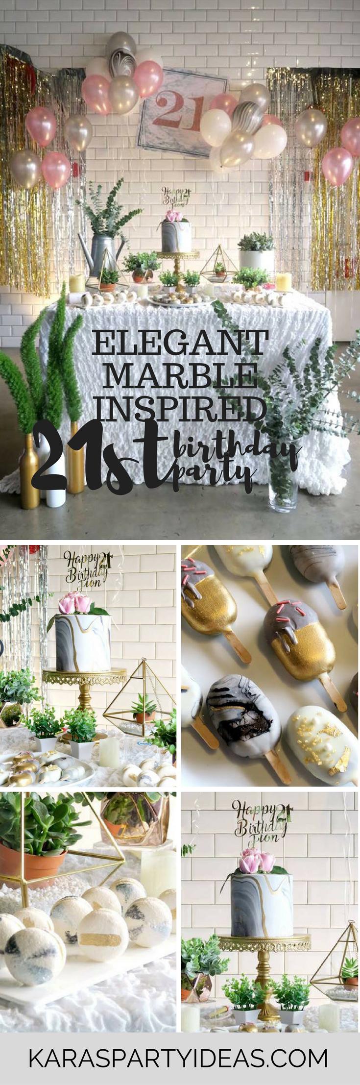 Elegant Marble Inspired 21st Birthday Party Via Karas Ideas