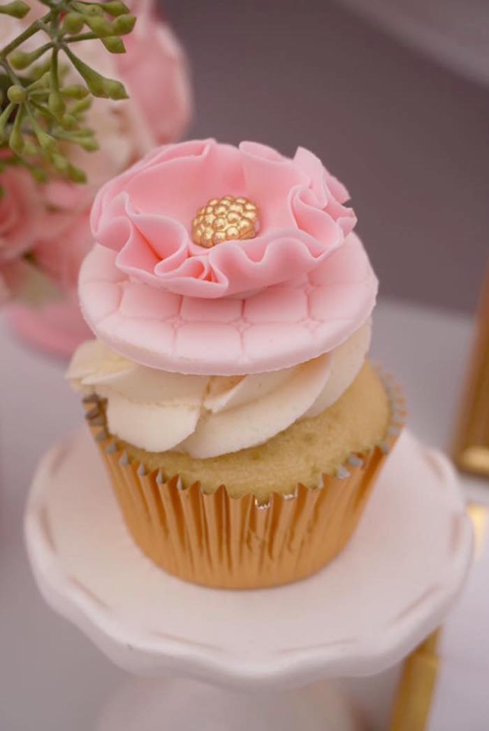 Pink flower cupcake from a Floral Minnie Mouse Birthday Party on Kara's Party Ideas | KarasPartyIdeas.com (4)