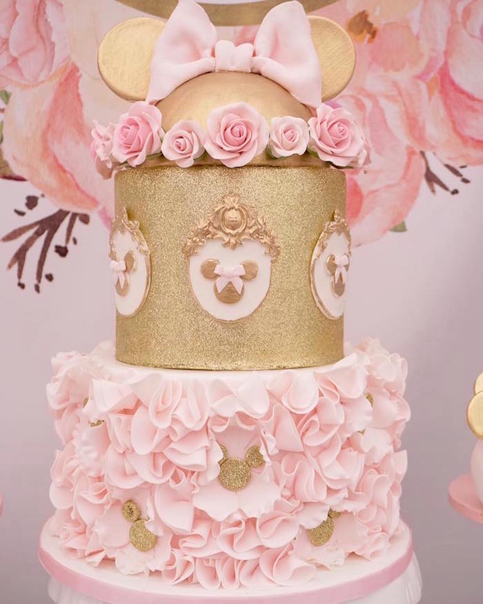 Minnie Mouse Cake from a Floral Minnie Mouse Birthday Party on Kara's Party Ideas | KarasPartyIdeas.com (3)