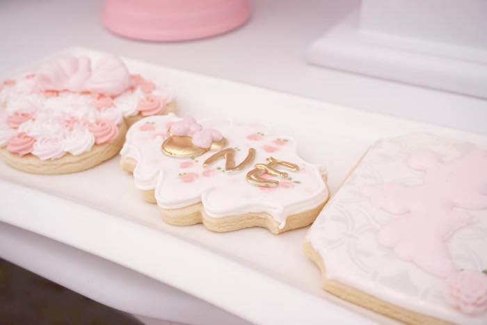 Minnie Mouse Cookies from a Floral Minnie Mouse Birthday Party on Kara's Party Ideas | KarasPartyIdeas.com (20)