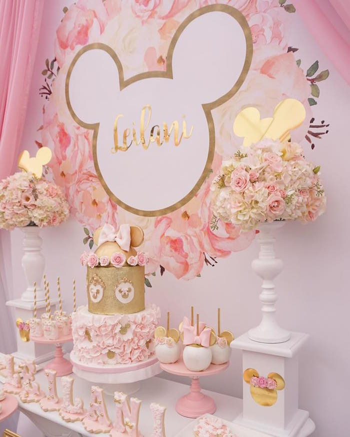 Sweet tablescape from a Floral Minnie Mouse Birthday Party on Kara's Party Ideas | KarasPartyIdeas.com (18)