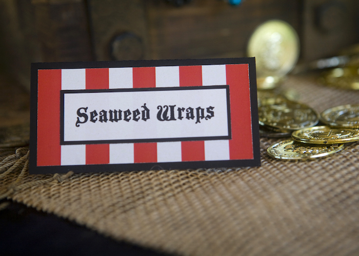Food Tags from a Misty Cove Pirate Birthday Party via Kara's Party Ideas | KarasPartyIdeas.com
