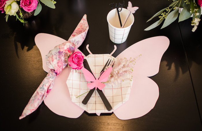 """Butterly place setting from a Garden Spa """"Treat Yourself"""" Birthday Party on Kara's Party Ideas   KarasPartyIdeas.com (25)"""
