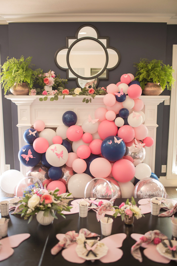 "Balloon installation from a Garden Spa ""Treat Yourself"" Birthday Party on Kara's Party Ideas 