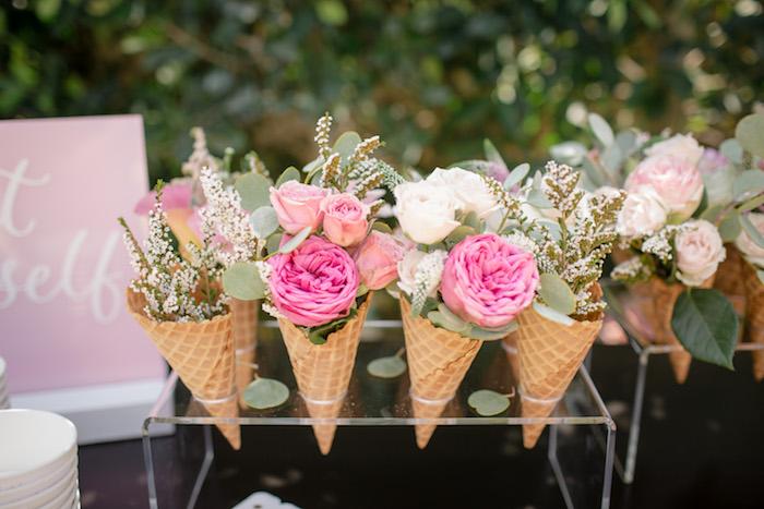 "Floral ice cream cones from a Garden Spa ""Treat Yourself"" Birthday Party on Kara's Party Ideas   KarasPartyIdeas.com (22)"
