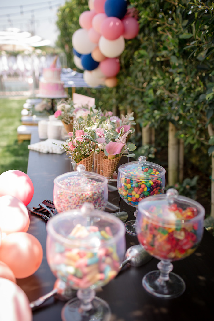 "Ice cream bar from a Garden Spa ""Treat Yourself"" Birthday Party on Kara's Party Ideas 