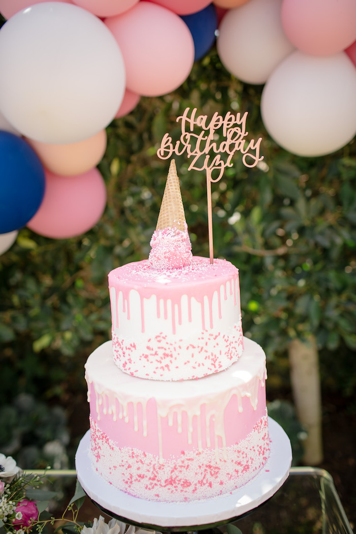 """Pink drizzle cake from a Garden Spa """"Treat Yourself"""" Birthday Party on Kara's Party Ideas   KarasPartyIdeas.com (19)"""