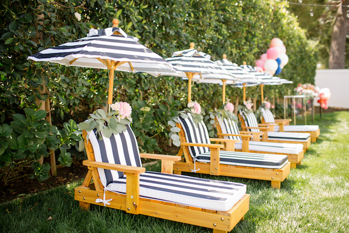"Lounge chairs from a Garden Spa ""Treat Yourself"" Birthday Party on Kara's Party Ideas 