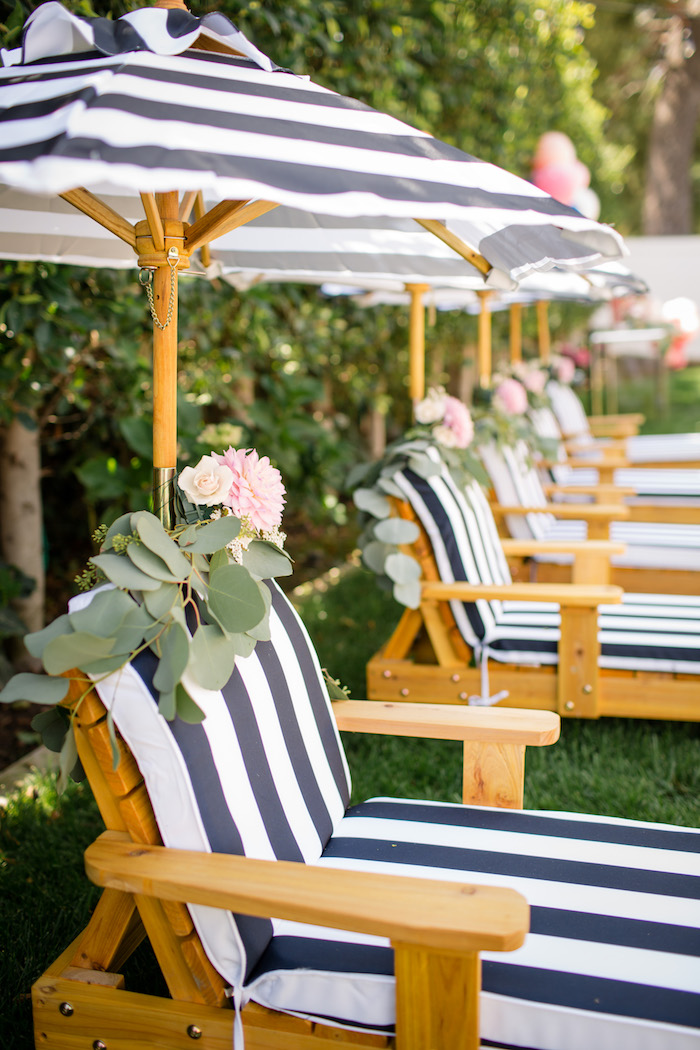 "Lounge chair bunting from a Garden Spa ""Treat Yourself"" Birthday Party on Kara's Party Ideas 