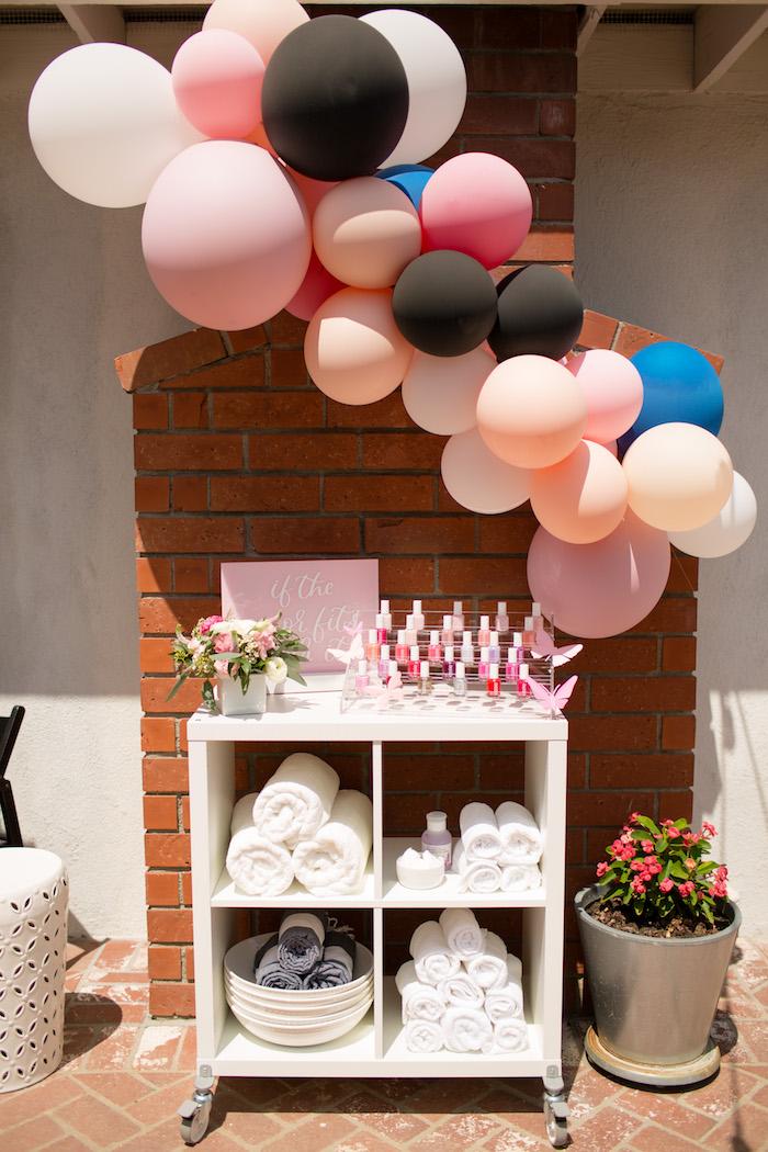 "Spa bar from a Garden Spa ""Treat Yourself"" Birthday Party on Kara's Party Ideas   KarasPartyIdeas.com (11)"