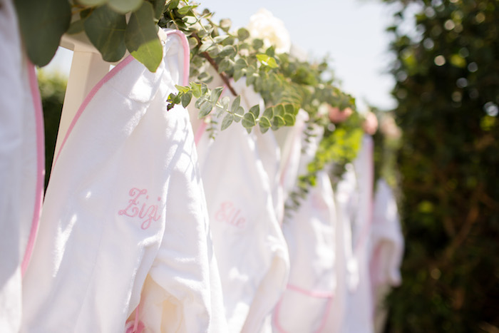 "Personalized spa robes from a Garden Spa ""Treat Yourself"" Birthday Party on Kara's Party Ideas 