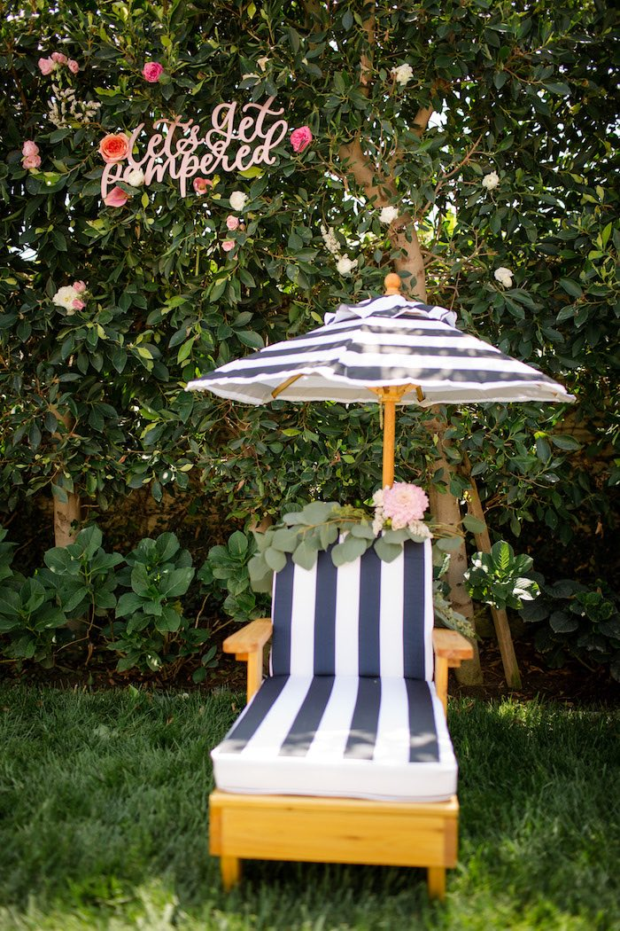 "Lounge chair from a Garden Spa ""Treat Yourself"" Birthday Party on Kara's Party Ideas 