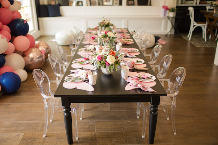 "Garden guest table from a Garden Spa ""Treat Yourself"" Birthday Party on Kara's Party Ideas   KarasPartyIdeas.com (29)"