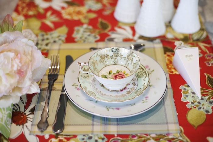 Mismatched vintage china place setting from a Garden Tea Party Bridal Shower on Kara's Party Ideas | KarasPartyIdeas.com (21)