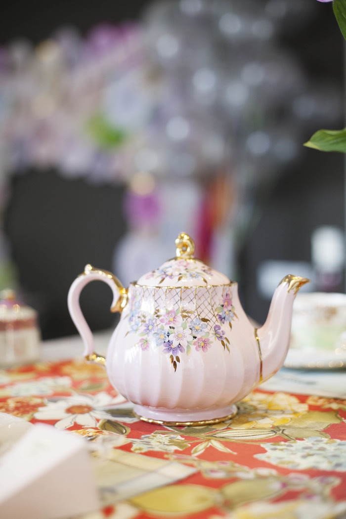 Vintage tea kettle from a Garden Tea Party Bridal Shower on Kara's Party Ideas | KarasPartyIdeas.com (19)