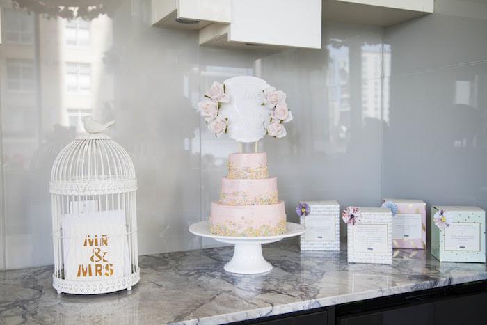 Cake spread table from a Garden Tea Party Bridal Shower on Kara's Party Ideas | KarasPartyIdeas.com (16)