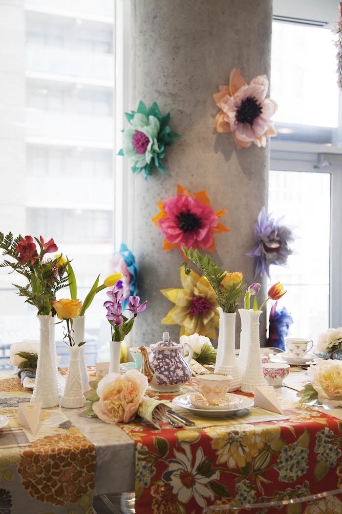 Guest table from a Garden Tea Party Bridal Shower on Kara's Party Ideas | KarasPartyIdeas.com (13)