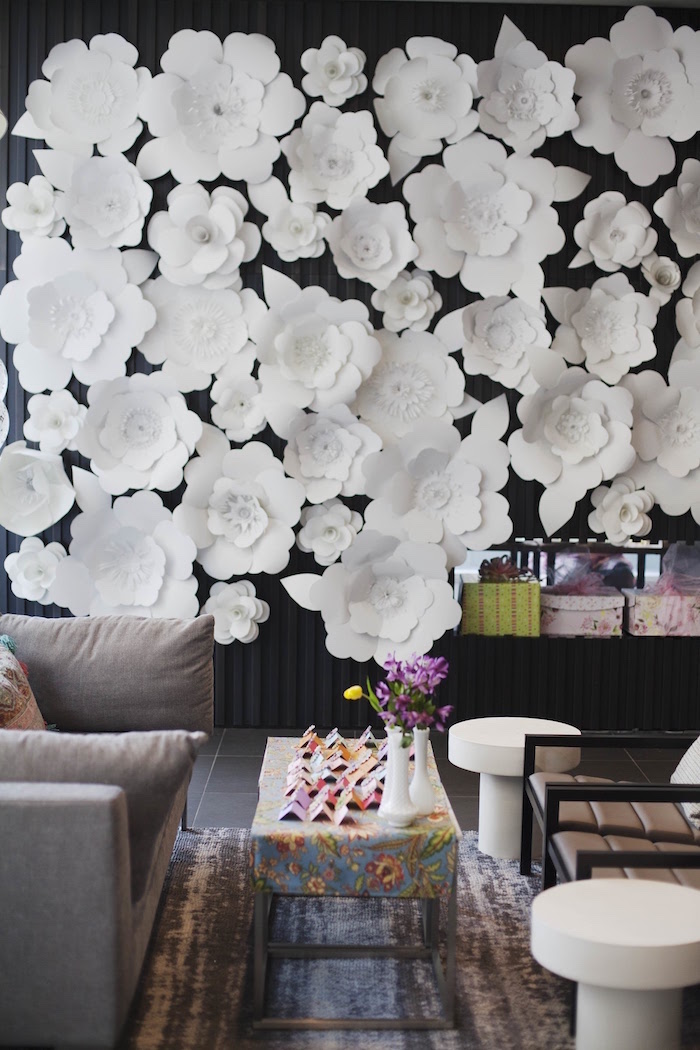 Paper flower wall + lounge area from a Garden Tea Party Bridal Shower on Kara's Party Ideas | KarasPartyIdeas.com (31)