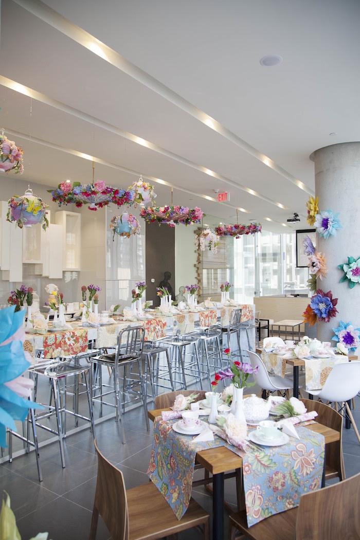 Guest tables from a Garden Tea Party Bridal Shower on Kara's Party Ideas | KarasPartyIdeas.com (8)