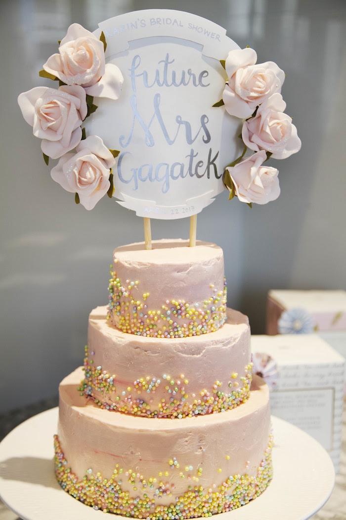 Cake from a Garden Tea Party Bridal Shower on Kara's Party Ideas | KarasPartyIdeas.com (28)
