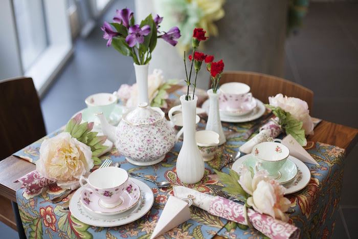 Guest table from a Garden Tea Party Bridal Shower on Kara's Party Ideas | KarasPartyIdeas.com (25)