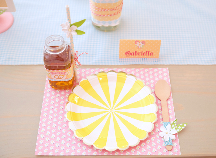 Pinwheel place setting from a Girly Oktoberfest Party on Kara's Party Ideas | KarasPartyIdeas.com (9)