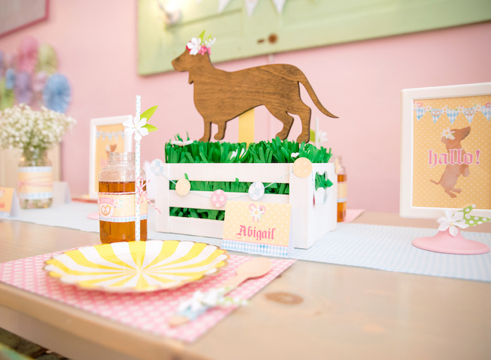 Wooden dachshund cut-out centerpiece from a Girly Oktoberfest Party on Kara's Party Ideas | KarasPartyIdeas.com (7)