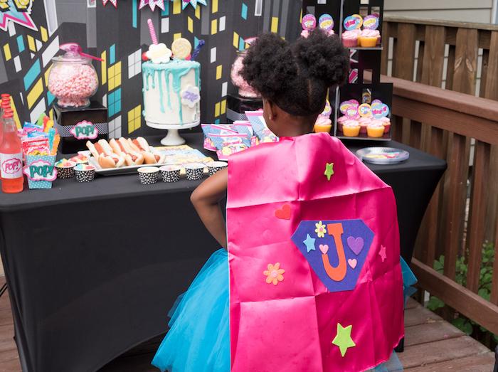 Superhero Cape from a Girly Superhero Birthday Party on Kara's Party Ideas | KarasPartyIdeas.com (10)
