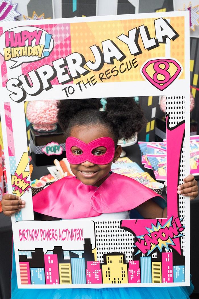 Superhero photo frame from a Girly Superhero Birthday Party on Kara's Party Ideas | KarasPartyIdeas.com (8)
