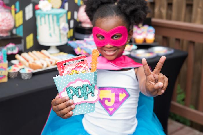 """Pop"" candy box from a Girly Superhero Birthday Party on Kara's Party Ideas | KarasPartyIdeas.com (7)"