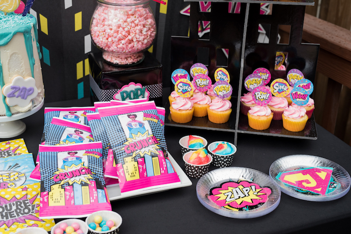 Sweet table detail from a Girly Superhero Birthday Party on Kara's Party Ideas | KarasPartyIdeas.com (5)